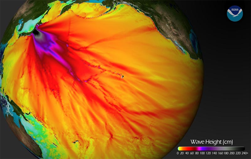 Waves from the deadly 2011 Honshu, Japan tsunami radiated for thousands of miles, affecting shores in Hawaii and beyond. Source: National Oceanic and Atmospheric Administration (NOAA)