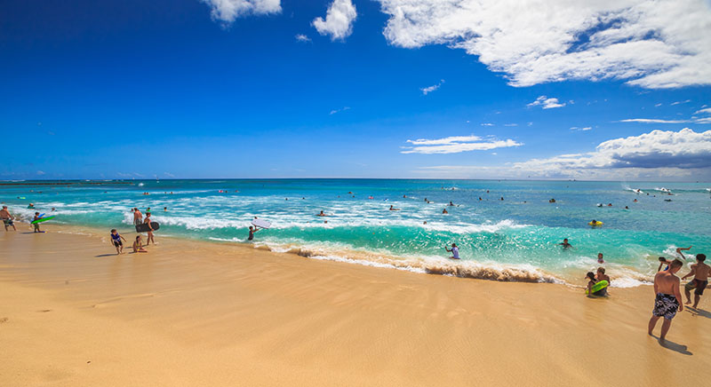 Strong currents can happen at any beach in Hawaii. Benny Marty/Shutterstock.com